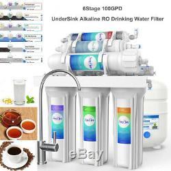 100GPD Alkaline 6-Stage Under Sink Reverse Osmosis Drinking Water Filter System