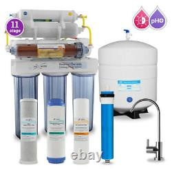 11 Stage DI, PH 5-1 Alkaline 50GPD Drinking RO System with CP Modern Faucet
