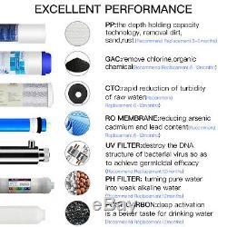 11-Stage Undersink Reverse Osmosis Filtration System UV Ultraviolet Alkaline