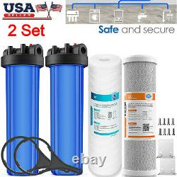 2 Stage Big Blue Whole House Filter System 1 Port 20 x 4.5 Carbon + String