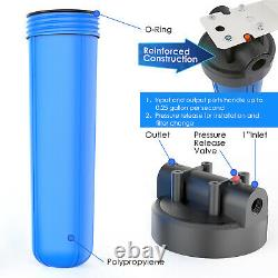3 Pack 20-Inch Big Blue Whole House Water Filter System 1 Port, With Bracket