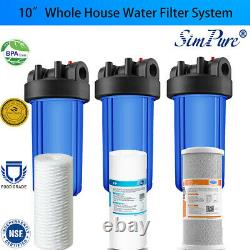 3-Stage Big Blue 10 Whole House System 1 Port+, String, Sediment, Carbon Filters