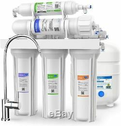 5-Stage 100GPD Reverse Osmosis Drinking Water Filter System Softener Faucet, Tank