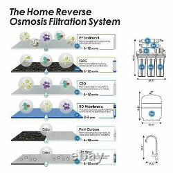 5 Stage 100GPD Reverse Osmosis Drinking Water Filtration Home Purifier System