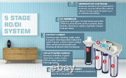 5 Stage 100 GPD Reverse Osmosis/DI Aquarium Reef Water Filter System 0 PPM RODI