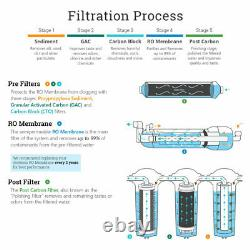 5 Stage Home Reverse Osmosis System With 12 Filters 75 GPD Modern Brushed Nickel