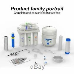 5 Stage RO Reverse Osmosis Filtration System 100 GPD Fast Flow Home Drinking New