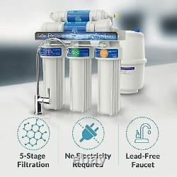 5 Stage Reverse Osmosis Drinking Water Filter System 100GPD RO House Purifier
