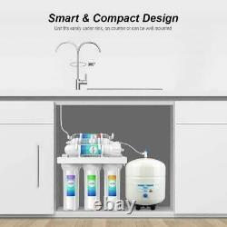 5 Stage Reverse Osmosis Drinking Water Purifier System Under Sink +Filter 100GPD