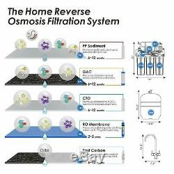 5 Stage Undersink Reverse Osmosis RO System Drinking Water Filter 100 GPD