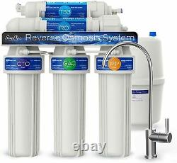 5 Stage Undersink Reverse Osmosis Water Filter System 100GPD NSF Certified