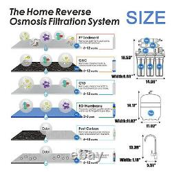 6 Stage 100GPD Alkaline Reverse Osmosis Drinking Water Filter System Purifier