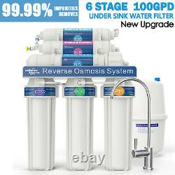 6 Stage 100GPD Alkaline Reverse Osmosis Drinking Water Filter System Purifier US