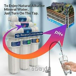 6 Stage 100GPD Alkaline Reverse Osmosis RO Drinking Water Filter System Purifier