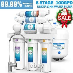 6 Stage 100GPD PH Alkaline Reverse Osmosis Drinking Water Filter System Purifier