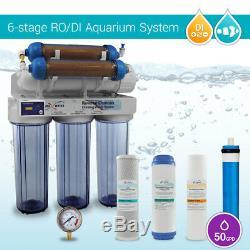 6 Stage Aquarium Reverse Osmosis System RO DI + HM Inline TDS Meter (50180 GPD)