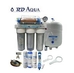 6 Stage Clear RO DI Water Filter System with 100 GPD Membrane
