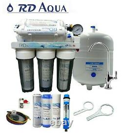 6 Stage Clear RO Water Filter System, 75 GPD Membrane and Chrome Faucet