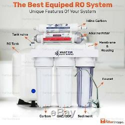 6 Stage Drinking Water Reverse Osmosis Filter System with pH Alkaline 75 GPD