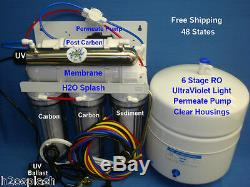6 Stage RO 75GPD UV Permeate Pump Reverse Osmosis System Water Filter Clear tank