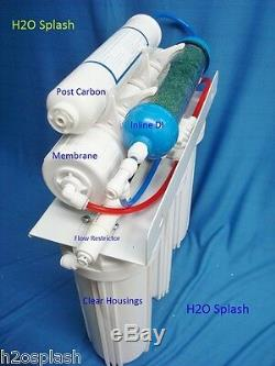 6 Stage RO+DI Reverse Osmosis System 75 GPD membrane Water Filter Storage Tank