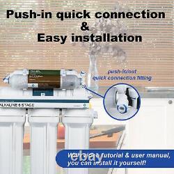 6 Stage Reverse Osmosis Alkaline 75GPD Water Filter Purifier Undersink System