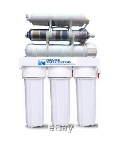 6 Stage Reverse Osmosis Water Filter System 100 GPD Alkaline pH+ Permeate Pump