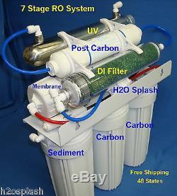 7 Stage 150 gpd RO+DI+UV Reverse Osmosis Water Filter System Aquarium