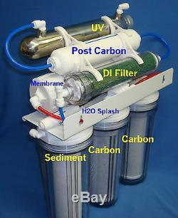 7 Stage(24/35/50GPD)RO DI UV Reverse Osmosis System Water Filter Clear! H2O