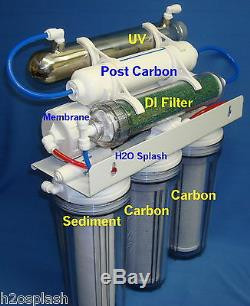 7 Stage 75 GPD RO+DI+UV Reverse Osmosis System Water Filter/ Clear Housings