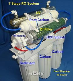 7 Stage RO+DI+UV Reverse Osmosis System (24/35/50 gpd membrane) Water Filter