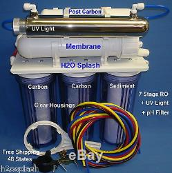 7 Stage RO+pH+UV Reverse Osmosis System Water Filter 100/150gpd Clear Housings