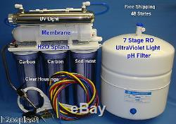 7 Stage RO+pH+UV Reverse Osmosis System Water Filter 24/35/50gpd Clear Housings