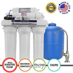 APEX MR-5051 5 Stage 50 GPD Booster Pump RO Reverse Osmosis Water Filter System