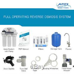 APEX MR-6075P 6 Stage 75GPD Booster Pump pH+ Reverse Osmosis Water Filter System