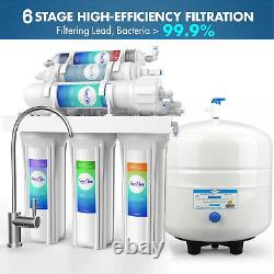 Alkaline Reverse Osmosis 6 Stage 75/100GPD Drinking Water Filter System Purifier