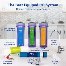 Deionization Reverse Osmosis Water Filtration System Clear with Gauge 100GPD