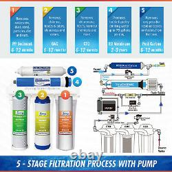 ISpring RCC7P 5-Stage 75GPD Reverse Osmosis Water Filter System with Booster Pump