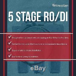 LiquaGen 5 Stage (50 GPD) Reverse Osmosis + Deionization Water Filter System