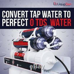LiquaGen 7 Stage 0 PPM Heavy Duty Aquarium RO/DI Water Filter System 75 GPD