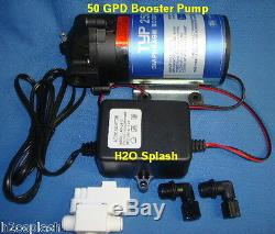 RO 4 Stage 75 gpd+Booster Pump Reverse Osmosis System Water Filter Clear Housing