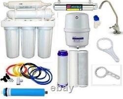 RO Reverse Osmosis Water Filter 7 Stage System UV Light Sterilizer 100 GPD