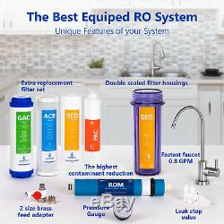 Reverse Osmosis Water Filtration System Clear, Gauge, 4 Bonus Filter 100 GPD