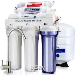 Under Sink Reverse Osmosis Drinking Water Filter System 6-Stage High Capacity