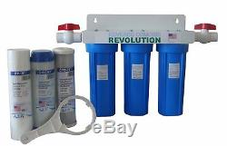 Whole House 3-Stage Water Filtration System, 3/4 port with 2 valves and extra 3