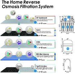 100 Gpd Résidentiel Boire 5 Étape Système D'osmose Inverse Eau USA Filtre