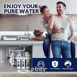 100 Gpd Système De Filtration D'eau À Osmose Inverse 5 Étapes + 7 Filtres Supplémentaires