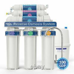 100gpd 6 Étape Alkaline Reverse Osmosis Drinking Water Filter System Purificateur