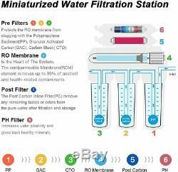 100gpd Alcaline 6 Scène Sous L'évier Osmose Inverse Réseau D'eau Potable De Filtre