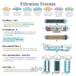 11 Étape Di, Ph 5-1 Alkaline 50gpd Système Ro De Consommation Avec Robinet Moderne Cp